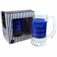 DAD You're Awesome ! Glass Beer Tankard by Leonardo GIFT Boxed MUG Drink