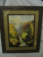 R. Atkinson Fox? Bear Bird Waterfall Mt's Snow. Framed Calendar Print 1920s