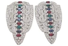 VINTAGE ART DECO BIG CLEAR PASTE DRESS CLIPS RED BLUE GREEN CRYSTAL MAGNIFICENT