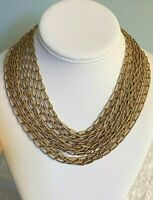 Stunning Vintage 14 Strand Gold Tone Chain Link Choker Necklace~One of a Kind!