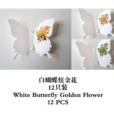 3D butterfly Art Decor PVC butterflies Mural wall stickers 12 pcs white