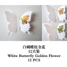 3D Mariposa Arte para Decoración de PVC Mariposas Mural Pegatinas De Pared De 12 Piezas Blanco