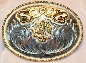 Silver Western Belt Buckle with Mexican Coat of Arms