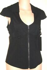 Lip Service NEW gangsta BLACK LUREX CAP SLEEVE TOP  M rare