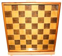 Enlish Chess Game Board Hand Made Maple Wood Inlay Under Glass Great Patina