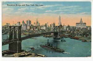 ORIGINAL BROOKLYN BRIDGE & NEW YORK SKY LINE USA COLOUR POSTCARD - UNUSED