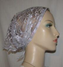 Silver Gray Lace Bandanna Kerchief Headcovering Tichel Scarf Head Covering Wrap