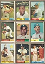 1961 61 Topps YOU PICK SINGLES FROM #1-589 ALL HIGH GRADE NEAR MINT OR BETTER