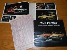 1975 PONTIAC FIREBIRD LEMANS BONNEVILLE GRAND PRIX Etc. BROCHURE plus PRICE LIST