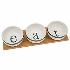 White 3 Bowl Serving Set on a Bamboo Serving Tray - Eat