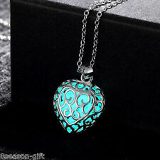 Gift Blue Sliver Plated Hollow Heart Luminous Glow In Dark Pendant Necklace