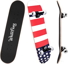 WhiteFang Skateboards for Beginners, Complete Skateboard 31 x 7.88, 7 Layer Cana