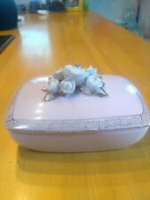 Lefton Pink Trinket Box Porcelain Flowers Gold Accents Vintage Vanity