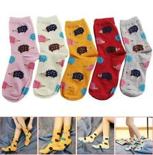 5pairs Women Winter Warm Soft Cotton Blend Hedgehog Animal Cartoon Casual Sock