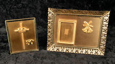 Vintage 50th Anniversary Gold Wedding Bells Frame & Cross Rings Plaque