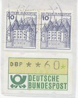 BUNDESREPUBLIK 1988 10 Pf Burgen (2x) + Automatenmarke 60 Pf (ABART) Briefstück