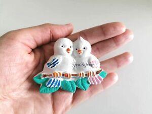 Calamita in ceramica uccellini decorata a mano