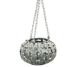 Metal Flower Decorative Hanging Indoor/Outdoor Tea Light Candle Lantern/Holder