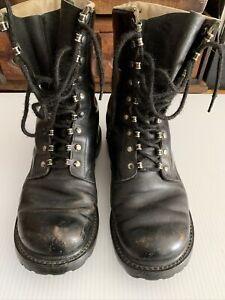 Vintage Mens German Echt Leder Military Black Boots Size 8
