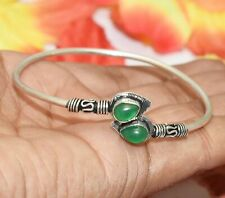 Bracelet 925 Silver Overlay U287-D154 Green Onyx Gemstone Adjustable Cuff Bangle