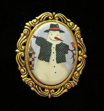 Frosty Snowman Jacket Pin Brooch Winter Holiday Porcelain & 24 Karat Gold Plate