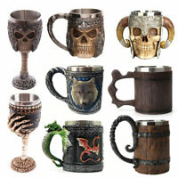 Stainless Steel 3D Skull Beer Mug, Viking Warrior Skull Mug Tankard For Beverage