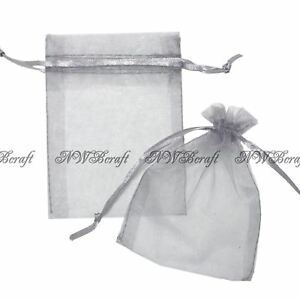 Silver Grey Organza Gift Favour Bags Wedding Jewellery Drawstring Pouches