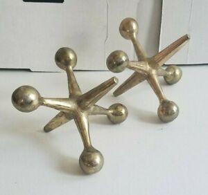 Vtg Mid Century Modern Steel Chrome Metal Jack Jax Sculpture Bookends Eames Era