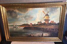 1935 L.M. McNamara DUTCH HOLLAND Oil on Canvas PAINTING Windmill Lake Boat 30x18