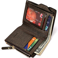 NEW Men's Leather Wallet Credit Card holder Coin Purse Pocket Money Clip