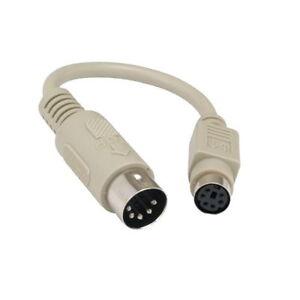 "6"" DIN5 AT Male to Mini DIN6 MDIN6 PS/2 Female Keyboard Adapter Converter PC Mac"