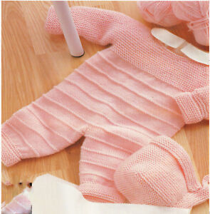 Knitting PATTERN- Baby Girl-Boy All in One and hat in DK wool- Fits Birth-9 mths