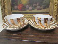 ancienne paire dejeuners altwasser porcelaine fine allemande tasses sous dorées