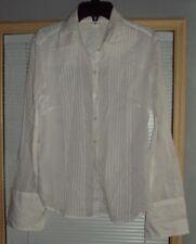 Women Ladies H&M White Button Down Blouse Top Size 8 Long Sleeve