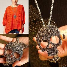 Women Bronze Punk Rock Gothic Skull Pendant Necklace Long Chain Vintage Fashion