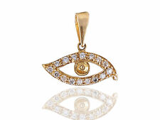 Pave 0.35 Carats Natural Diamonds Eye Pendant In Solid Certified 14K Yellow Gold