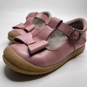 """L'amour rose leather """"Emma"""" bow mary jane shoes children's 9 kids girls"""