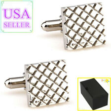 Hot Sale Men Cufflinks Silver Square Metal Cuff Links With Gift Box