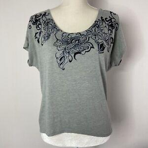 Athleta Womens Size M Medium Dolman Short Sleeve Top Floral Printed Shirt