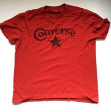 Vintage 80's CONVERSE STAR T Shirt Red Distressed Cotton Sneakers Chuck Taylor