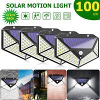 100 LED Solar Power PIR Motion Sensor Wall Light Outdoor Garden Lamp Waterproof@