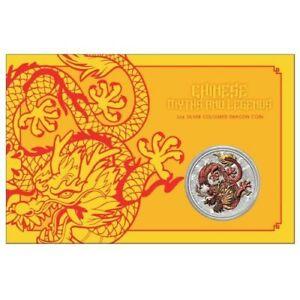 2021 Australian coloured Dragon 1oz Silver Coin in Card RARE only 1000