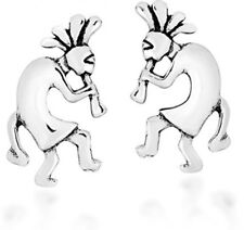 Stud Earrings For Women and Girls Native American Kokopelli 925 Sterling Silver