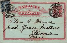 Chile 1905 Stationery Card uprated 2c + 2c  Valparaiso Lima