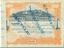 Bolsa Chica Oil Company Stock Certificate California