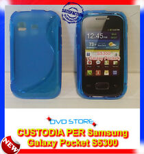 Pellicola+Custodia cover case WAVE BLU per Samsung Galaxy Pocket S5300