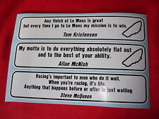 Lemans le mans pilote citations McNish Kristensen McQueen decal sticker
