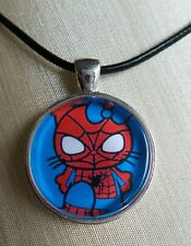 ** Hello Kitty SPIDERMAN ** Glass Pendant with Leather Necklace