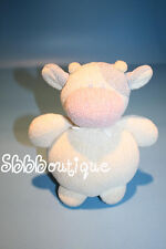 """Soft Dreams COW Baby Rattle 6"""" Cream Chenille Plush Pale Blue Pink Lovey Knit"""