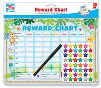 Pack Of 6 Jungle Childrens Reward Behaviour Charts With Star Stickers & Pen CHAR